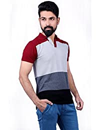 Men T-Shirts & Polos Maroon-Light Grey-Grey & Black T-shirt Party Wear (Men's Polo Collar Stripes T-Shirt For...