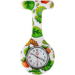 High Quality Brooch / Fob Watch, Infections Control, Silicone Hygienic Protection Cover / Holder With Leaves And Centipedes In Different Colours By VAGA