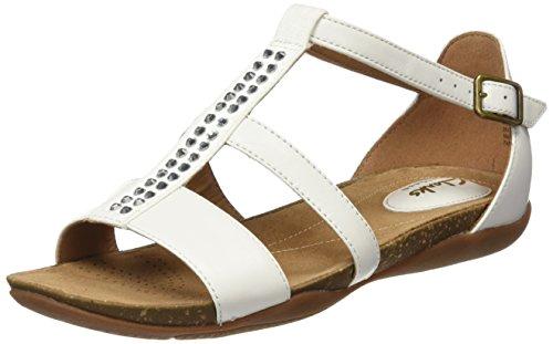 Clarks Autumn Fresh, sandales Femme Blanc (White Combi Lea)
