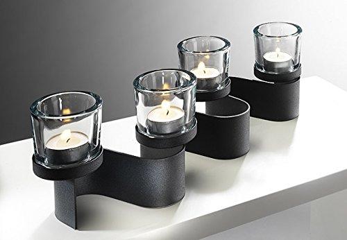 Kerzenhalter aus Metall mit Color-Glas