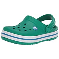 Crocs Crocband Clog K, Unisex-Child Clogs, Green (Deep Green/Prep Blue 3tv), Junior, 1 UK (32-33 EU)