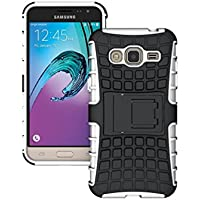KATUMO®Bianco Galaxy J3 Custodia, TPU e PC Protettiva Cover Dual Layer Custodia per Samsung Galaxy J3 ( Versione 2016 ) Bumper Silicone Case Cover Casi
