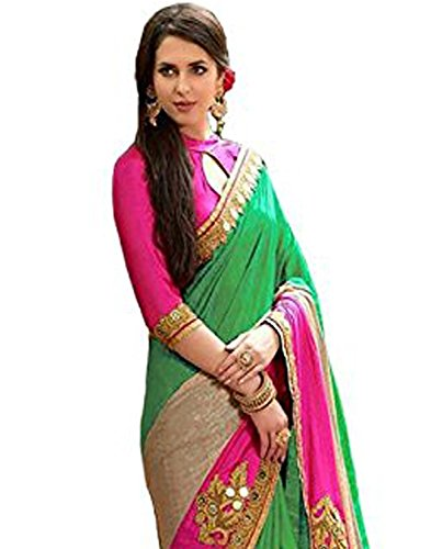 2af218d3685c2a 80% OFF on Arohi Designer Embroidered Green Colour Silk   Georgette Saree  for women With Blouse Material on Amazon