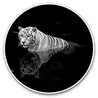 Awesome Vinyl Stickers (Set of 2) 7.5cm - White Tiger Big Cat Wild Fun Fun Decals for Laptops,Tablets,Luggage,Scrap Booking,Fridges,Cool Gift #2286