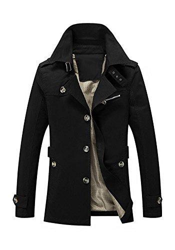 JKQA bei militärischen tasche stehen kragen jacke (XL, schwarz) (Ein Blazer Leder Lammfell Button)
