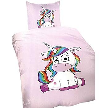 fe56f1595e Basatex Microfaser Bettwäsche Einhorn Unicorn Pink 2 tlg. Set 1x 135x200 cm  1x 80x80 cm