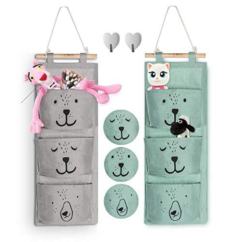Aitsite 2 pc hanger storage tasche portaoggetti | tessuto di lino armadio organizzatore con 3 sacche per camera semicircolare bagno cucina (ciano+grey)
