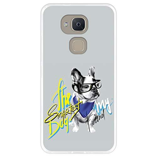 Hapdey silikon Hülle für [Bq Aquaris V - VS] mit gestempelt, Design [Gemälde, Elegante französische Bulldogge mit Brille] Farbe [Transparenz] Smartphone, Foto