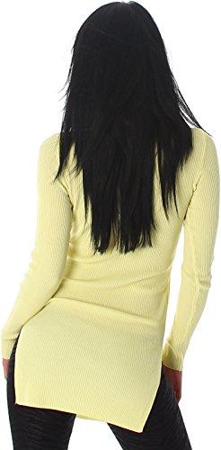 Voyelles - Pull - Uni - Manches Longues - Femme Jaune