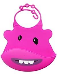 Vovotrade Baberos del bebé Animales infante Silicona suave Impermeable Goteo saliva,menos cables, toallitas fácilmente limpio, suave y cómodo, mantiene su forma Con Easy Rolls arriba