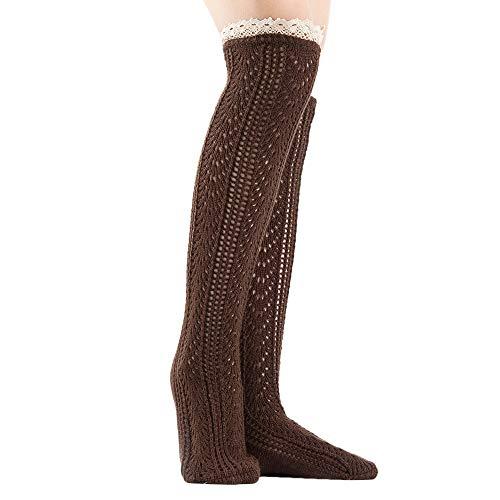 TUDUZ Damen Winter Warm Stricken Beinlinge Crochet Leggings Twist Slouch Boot Socken
