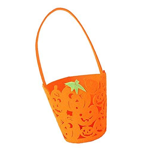 Baoblaze Orange Geschenkeimer Geschenkkorb Geschenktasche für Halloween Streich Spiel, aus Vliesstoff (Online-spiele Treat Trick Or Halloween Spielen)