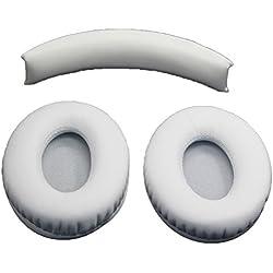 LEDMOMO Remplacement de Coussinets d'Oreille Coussin d'oreille pour Monster Beats par dr. dre studio 1.0Casque (Blanc)