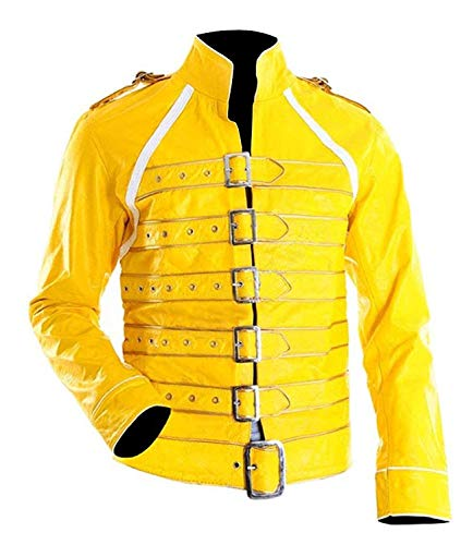 Right Jacket Freddie Mercury Konzert Königin Fancy Lederjacke Kostüm - Freddie Mercury Gelbe Jacke Kostüm