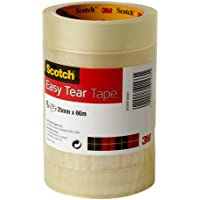 Scotch ET2566T6 Easy Tear Tape, 25 mm x 66 m - Clear, Pack of 6 Rolls