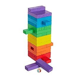 Relaxdays – Torre in Legno, 48 mattoncini impilabili, a Forma di cubo, per Bambini dai 3 Anni in su, Multicolore