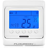 FLOUREON Heating Thermostat LCD Digital Backlight 5+2/6+1/7 Weekly 6 Stages Daily Programmable Floor Heating Thermostat Central Heating Room Thermostat Temperature Controller(Blue)