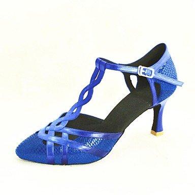 XIAMUO Anpassbare Damen Tanz Schuhe Modern/Standard Schuhe Satin/funkelnden Glitter/Paillette angepasste Ferse Schwarz/Blau/Rot/Silber/Gold Silber