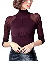 8fc9d25a4 Camisa Básica Manga Larga para Mujeres Camiseta Transparente Blusa Ajustada  Retro De Cuello Alto Moda De