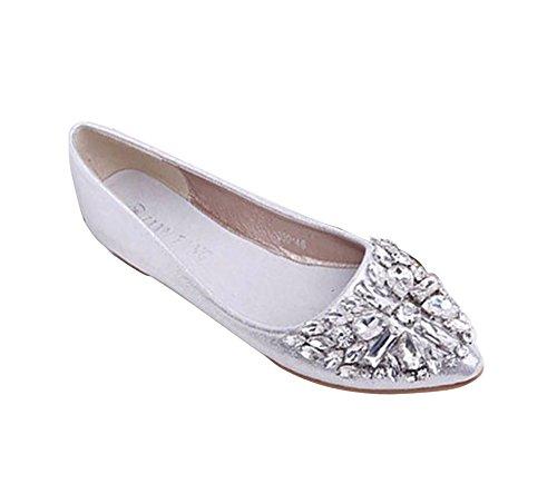 Minetom Damen Mädchen Mode Schuhe Spitze Schuhe Flache Ferse Bling Kristall Ballett Prinzessin Schuhe Silber 38 (Silber-ferse Schuhe)