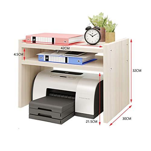 Holz Drucker Maschine Stehen Regal, 2-Schichten Einstellbare Desktop Storage Rack Organizer Für Home Office (Weiß Ahorn Größe: 70 * 38 * 83 Cm) (Size : Large) (2 Regal-drucker Stehen)