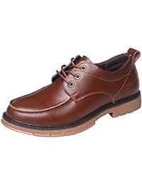 POachers Zapatos Cuero Hombre Casual Botines Hombre con Puntera Baja Zapatos Cuero Botines