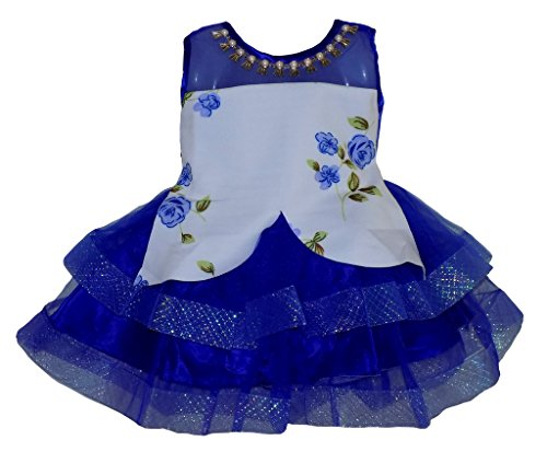 ALL ABOUT PINKS' Tutu Dress Frock for Girls in Scuba Fabric Birthday Dress (Blue, 1.5 to 2.5 Years)