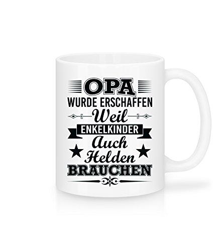 Shirtinator Tasse mit Spruch Opa Enkelkinder Helden I weiß Kermik 325 ml | Geschenkideen lustig Geschenke für Opa Geburtstag Weihnachten Vatertag