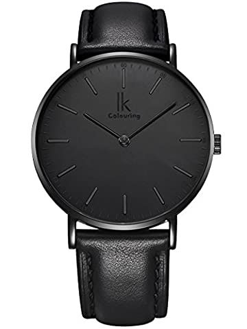 Alienwork IK All Black Quartz Watch Timeless design men watches Ultra-thin stylish Leather black 98469G-03