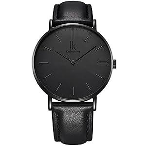Alienwork IK Vyrams Moterims Rankinis Laikrodis  Ultra-flach Slim-Uhr mit Leder-Armband