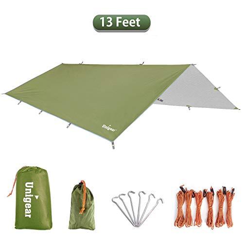 Unigear Zeltplane, Tarp für Hängematte, wasserdicht mit Ösen + 6 Erdnägel+ 6 Seilen, Regenschutz Sonnenschutz für Ourdoor Camping MEHRWEG (Grün-300 x 400cm)