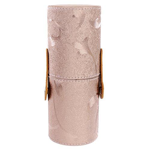 Porte-brosse de Maquillage Tube de Stockage Cas Cylindre de Support Cosmétique - Or Rose