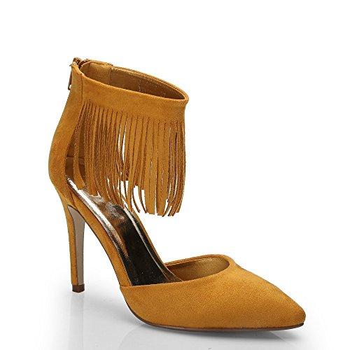 Ideal Shoes–Escarpins effetto camoscio con flange frangia Jackie Giallo