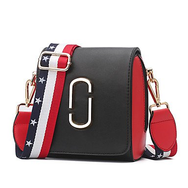 YJIUX Frauen Schultertasche PU All Seasons Event / Party Casual Formal Outdoor Büro & Karriere Sattel Snap Rot Schwarz Weiss Red