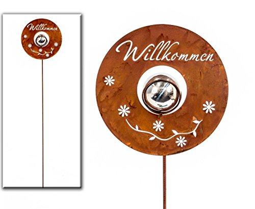 Gartenstecker Willkommen Metall silber/rost H 100 cm