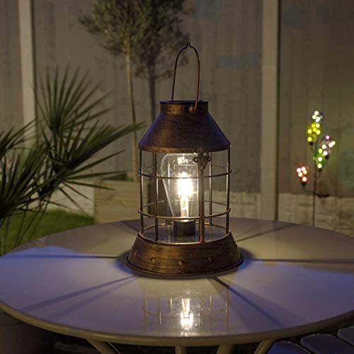 Festive Lights SL087 solarbetriebene wetterfeste Outdoor Metall Laterne - Retro Glühbirnen Design - mit Glühfaden-Filament-LEDs - inkl. Akku, Solarpaneel, Dämmerungsschalter -