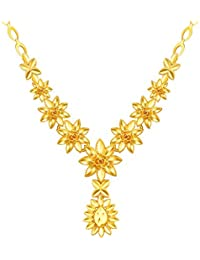 NEVI Gold Plated Chain Flower Necklace For Women