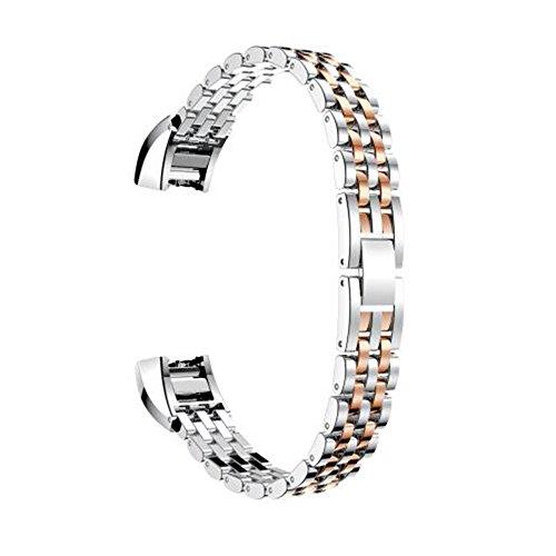 Für Fitbit Alta Armbänder, AISPORTS Fitbit Alta HR Uhrenarmband Edelstahl Smart Armband Ersatzarmband Armband Armband für Fitbit Alta / Fitbit Alta HR Fitness Zubehör - Silber / Roségold
