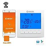 Beok BOT-313, termostatoWi-Fi per caldaia a gas, regolatore della temperatura ambientale programmabile, con schermo LCD e app gratuita! Controllo remoto online tramite smartphone, AC220V 3A, blu, 220.00 voltsV