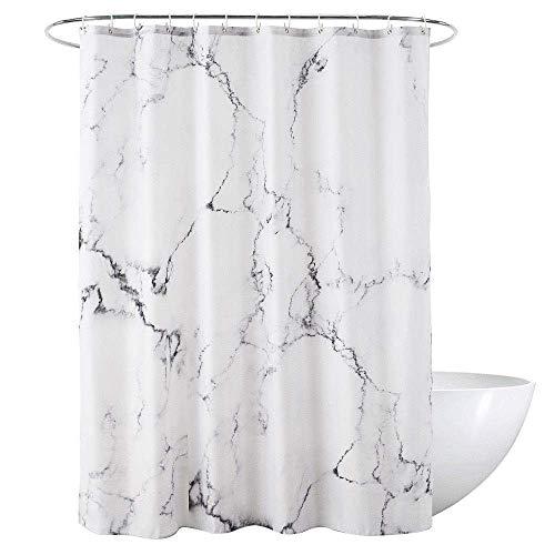 Loned Duschvorhang aus Polyester 180x180cm Marmor Schimmelresistenter und Wasserabweisend Duschvorhänge mit 12 Duschvorhangringen