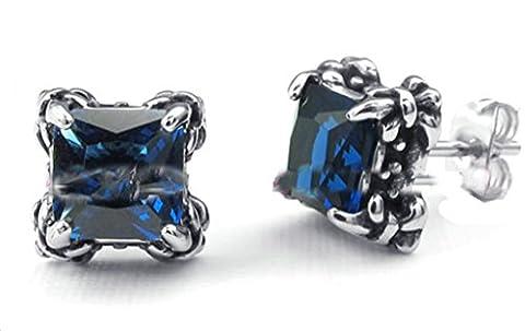 AmDxD Boucles d'oreilles carré Oxyde de Zirconium Bleu 0,9x0,9cm