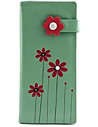Shagwear Red Flowers Large Wallet Faux Cuir Portefeuille