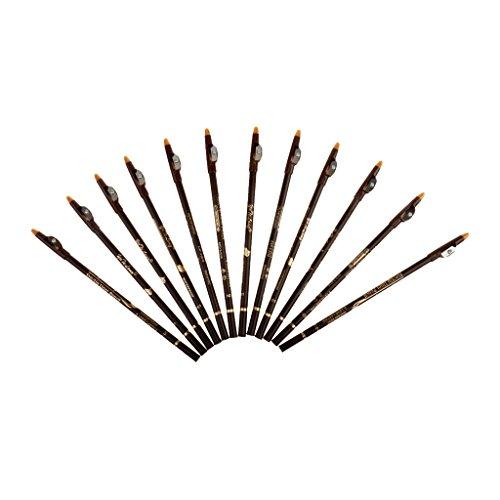 12pcs Stylo Eye-liner Crayon de Sourcil Imperméable avec Taille-crayon Outil Cosmétique pour Maquillage Beauté - Café, 20 cm