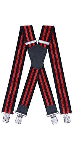 Kreuz-klammer (Ranger Hosenträger für Herren X förmige 5cm breit verstellbar und elastisch mit einem sehr starken Clips (Schwarze Rote Streifen))