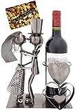 BRUBAKER Weinflaschenhalter Hochzeitspaar - Flaschenständer aus Metall mit Grußkarte für...