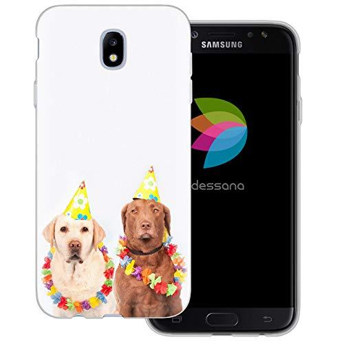 dessana Fasching Party transparente Schutzhülle Handy Case Cover Tasche für Samsung Galaxy J7 (2017) Kostüm ()