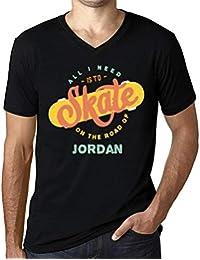 Hombre Camiseta Vintage Cuello V T-Shirt Gráfico On The Road of Jordan Negro Profundo