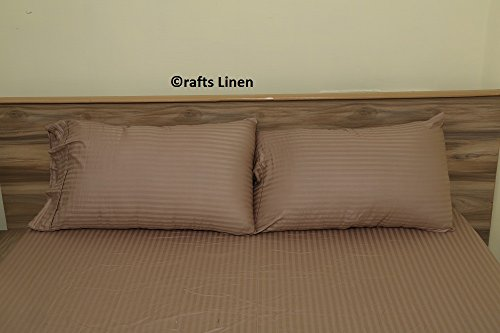 Crafts Leinen Ägyptische Baumwolle 300-thread-count Satin 2qty Kissenbezug Euro/Continental (65 x 65 cm), taupe gestreift