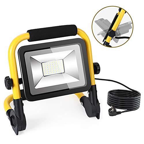 Faretto LED Portatile 50W, Ultra Luminoso Faretto da Cantiere 4500lm, 3 Modalità Faretto LED da Esterno Impermeabile IP66, Lampada da Lavoro con Cavo da 5 Metri, ProiettoredaCantiere Con 1 Gancio