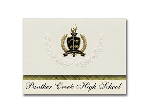Signature Announcements Panther Creek High School (Cary, NC) Abschlussankündigungen, Präsidential-Stil, Grundpaket mit 25 goldfarbenen und schwarzen metallischen Folienversiegelungen